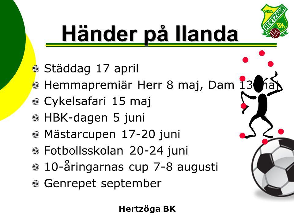 Hertzöga BK Händer på Ilanda Städdag 17 april Hemmapremiär Herr 8 maj, Dam 13 maj Cykelsafari 15 maj HBK-dagen 5 juni Mästarcupen 17-20 juni Fotbollss