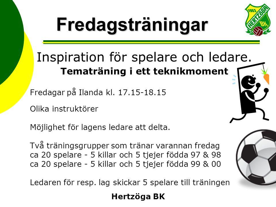 Fredagsträningar Inspiration för spelare och ledare. Tematräning i ett teknikmoment Fredagar på Ilanda kl. 17.15-18.15 Olika instruktörer Möjlighet fö