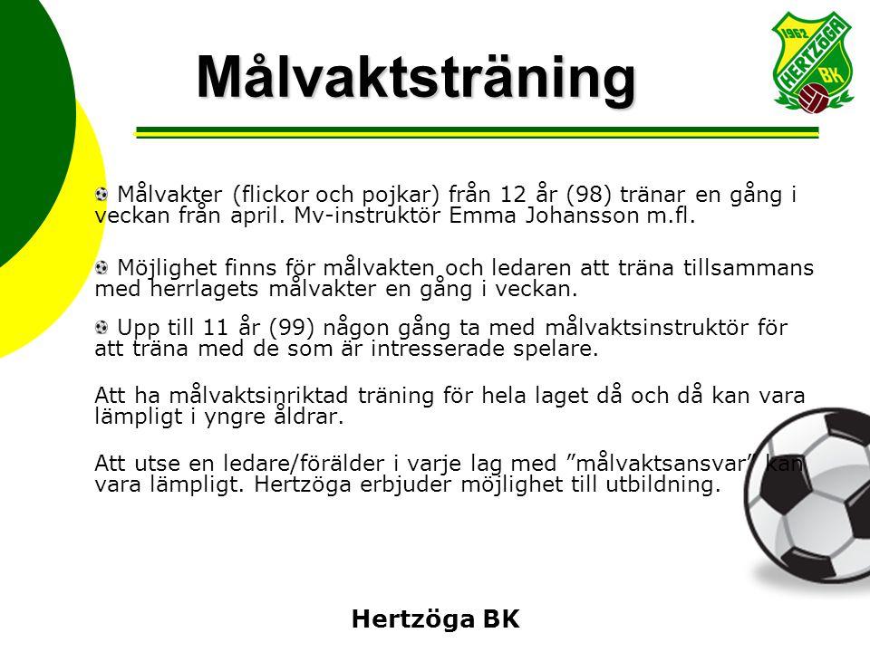 Hertzöga BK Målvaktsträning Målvakter (flickor och pojkar) från 12 år (98) tränar en gång i veckan från april. Mv-instruktör Emma Johansson m.fl. Möjl