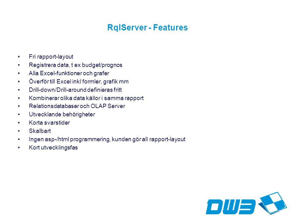 RqlServer - Features Fri rapport-layout Registrera data, t ex budget/prognos Alla Excel-funktioner och grafer Överför till Excel inkl formler, grafik mm Drill-down/Drill-around definieras fritt Kombinerar olika data källor i samma rapport Relationsdatabaser och OLAP Server Utvecklande behörigheter Korta svarstider Skalbart Ingen asp-/html programmering, kunden gör all rapport-layout Kort utvecklingsfas