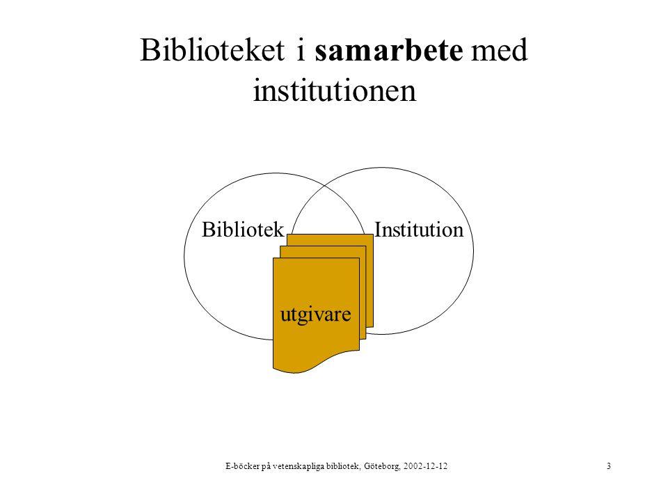 E-böcker på vetenskapliga bibliotek, Göteborg, 2002-12-123 Biblioteket i samarbete med institutionen BibliotekInstitution utgivare