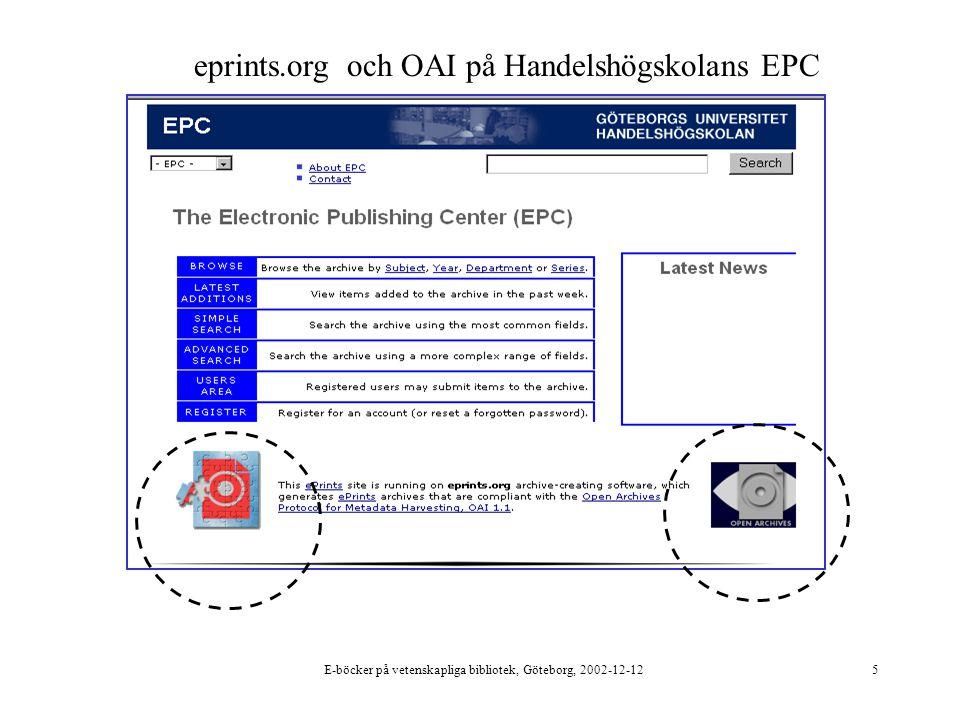 E-böcker på vetenskapliga bibliotek, Göteborg, 2002-12-125 eprints.org och OAI på Handelshögskolans EPC