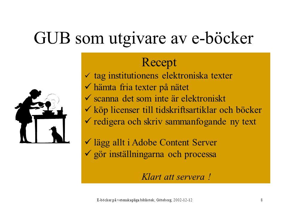 E-böcker på vetenskapliga bibliotek, Göteborg, 2002-12-128 GUB som utgivare av e-böcker Recept tag institutionens elektroniska texter hämta fria texter på nätet scanna det som inte är elektroniskt köp licenser till tidskriftsartiklar och böcker redigera och skriv sammanfogande ny text lägg allt i Adobe Content Server gör inställningarna och processa Klart att servera !