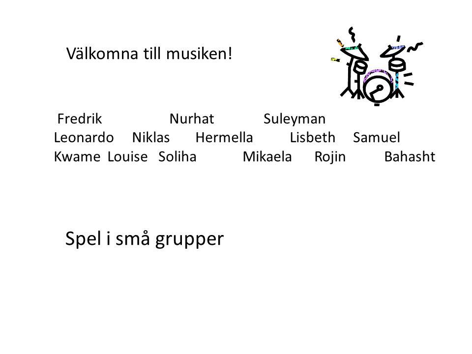 Fredrik Nurhat Suleyman Leonardo NiklasHermellaLisbeth Samuel Kwame Louise Soliha Mikaela RojinBahasht Välkomna till musiken.