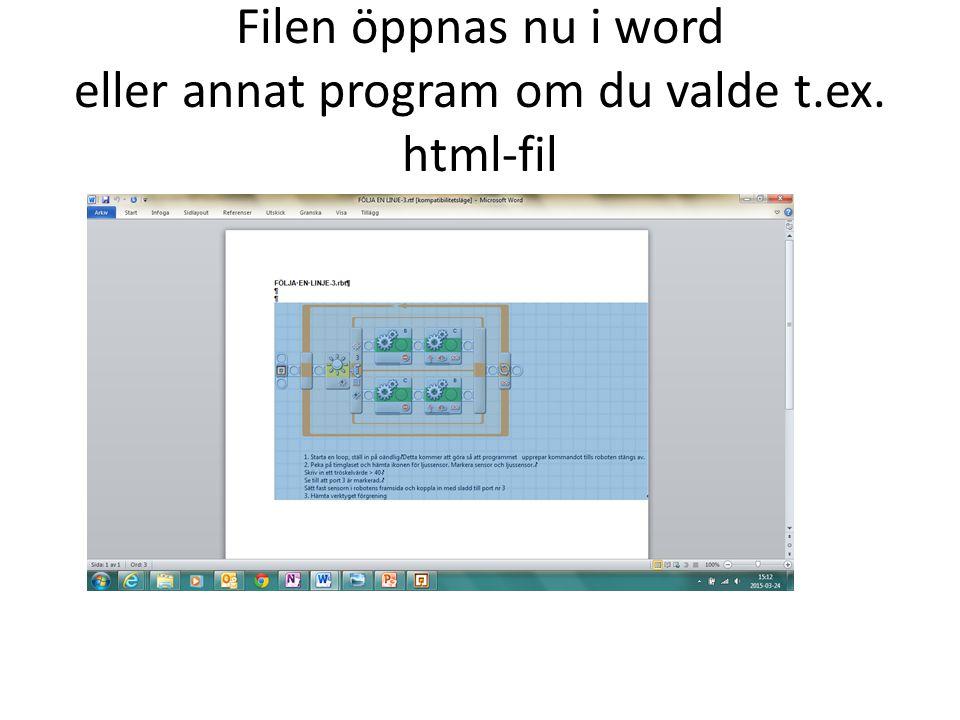 Filen öppnas nu i word eller annat program om du valde t.ex. html-fil