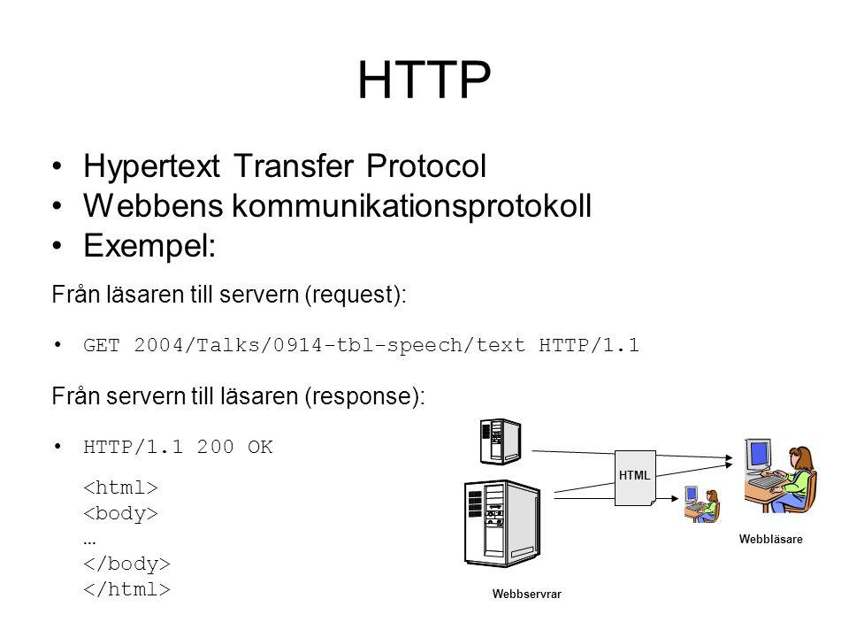 Hypertext Transfer Protocol Webbens kommunikationsprotokoll Exempel: Från läsaren till servern (request): GET 2004/Talks/0914-tbl-speech/text HTTP/1.1 Från servern till läsaren (response): HTTP/1.1 200 OK … Webbläsare HTML Webbservrar