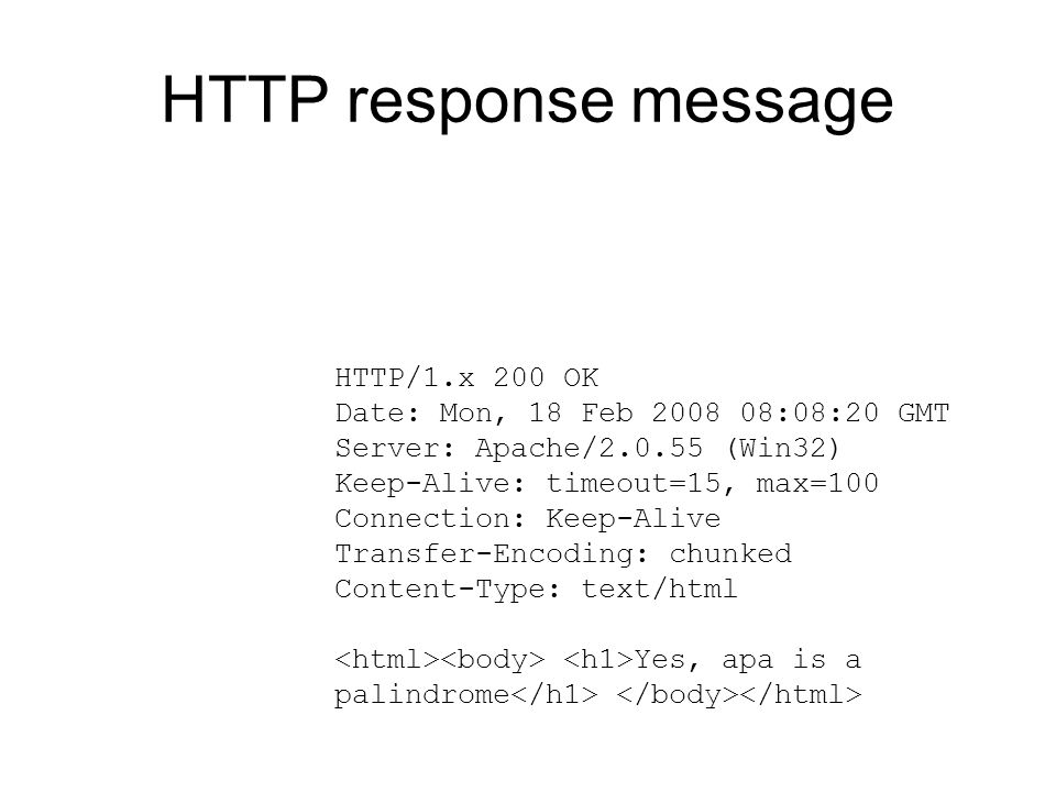 HTTP response message HTTP/1.x 200 OK Date: Mon, 18 Feb 2008 08:08:20 GMT Server: Apache/2.0.55 (Win32) Keep-Alive: timeout=15, max=100 Connection: Ke