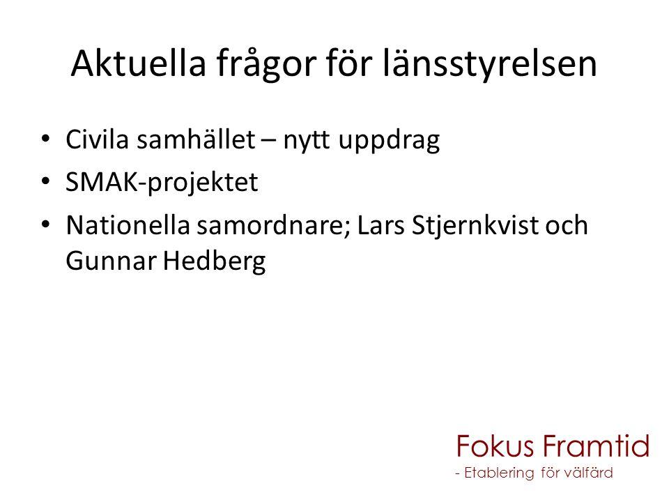 Aktuella frågor för länsstyrelsen Civila samhället – nytt uppdrag SMAK-projektet Nationella samordnare; Lars Stjernkvist och Gunnar Hedberg Fokus Framtid - Etablering för välfärd