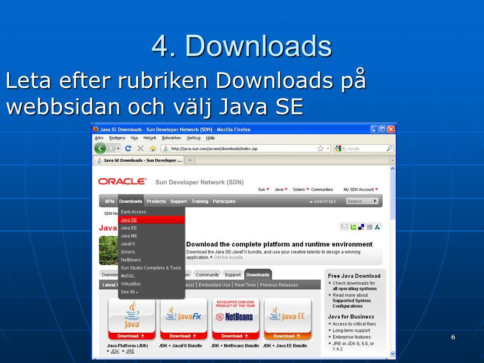 4. Downloads Leta efter rubriken Downloads på webbsidan och välj Java SE 6