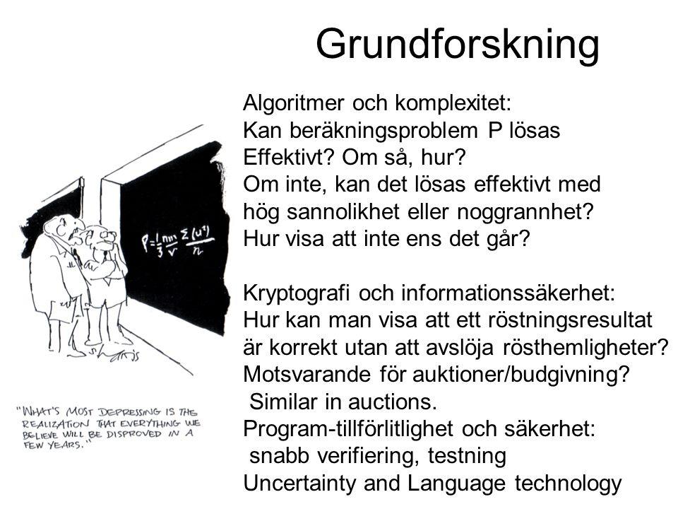 Nyttodrivenforskning Programvarusäkerhet (EU S3MS, 4WARD) Programanalysis och testing Språkverktyg: anonymisering av offentliga dokument, svenska och minoritetsspråk Realistiskt beslutsstöd: Insatsledning, primärvård