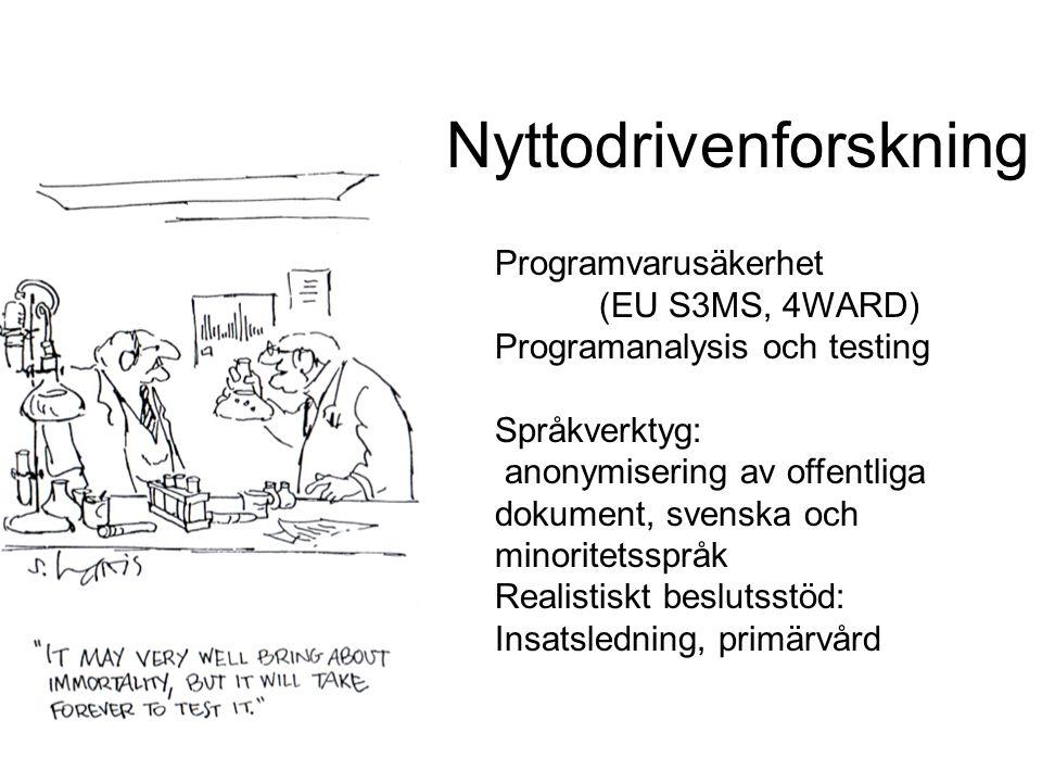 Nyttodrivenforskning Programvarusäkerhet (EU S3MS, 4WARD) Programanalysis och testing Språkverktyg: anonymisering av offentliga dokument, svenska och