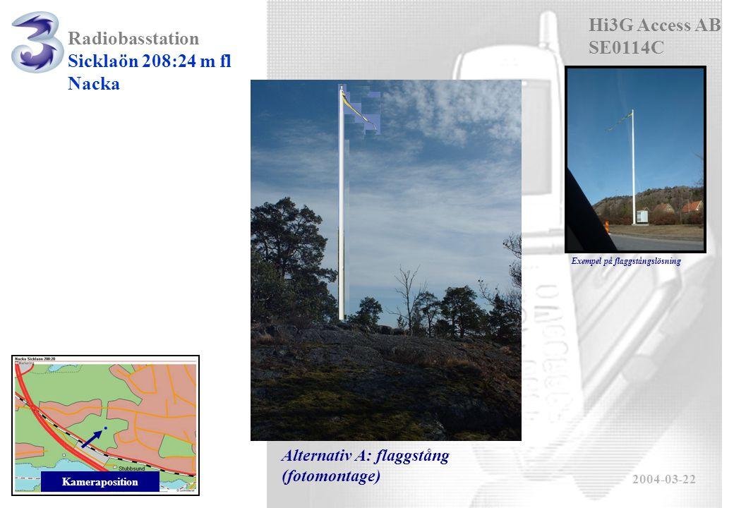 Radiobasstation Sicklaön 208:24 m fl Nacka 2004-03-22 Kameraposition Alternativ A: flaggstång (fotomontage) Exempel på flaggstångslösning Hi3G Access AB SE0114C
