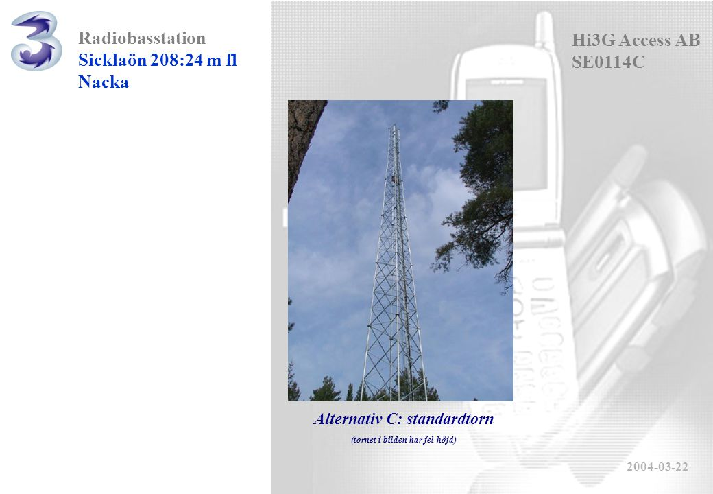 Radiobasstation Sicklaön 208:24 m fl Nacka 2004-03-22 Hi3G Access AB SE0114C Alternativ C: standardtorn (tornet i bilden har fel höjd)