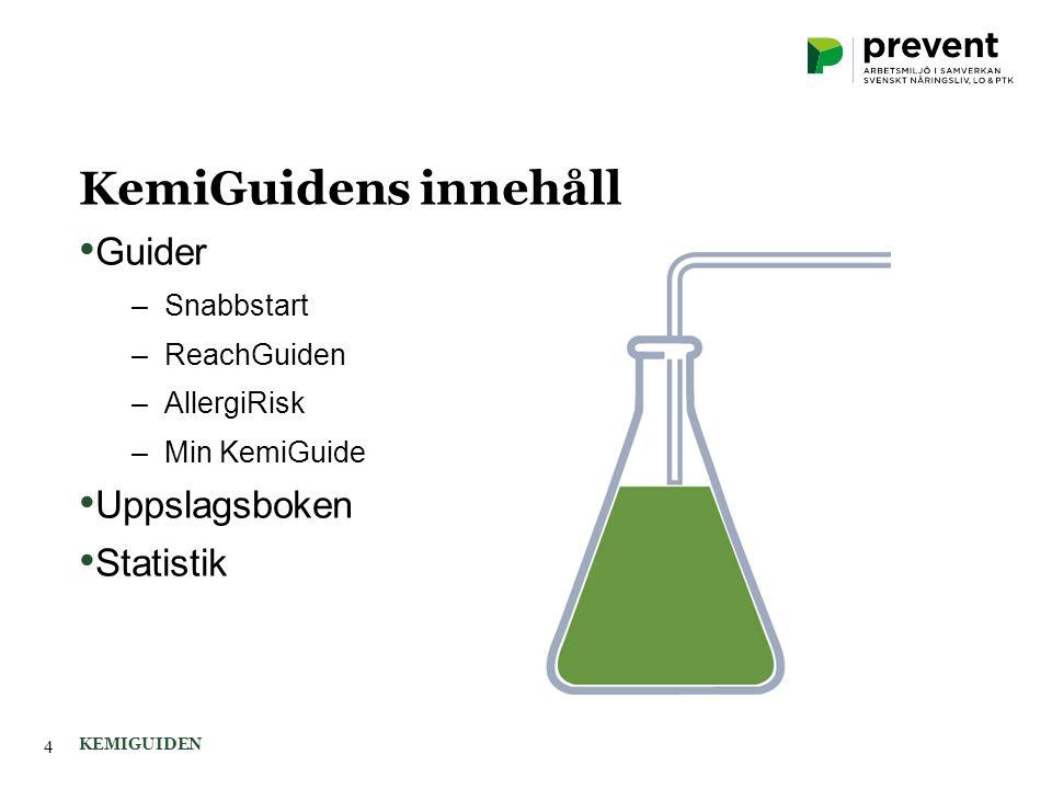 KemiGuidens innehåll KEMIGUIDEN4 Guider –Snabbstart –ReachGuiden –AllergiRisk –Min KemiGuide Uppslagsboken Statistik