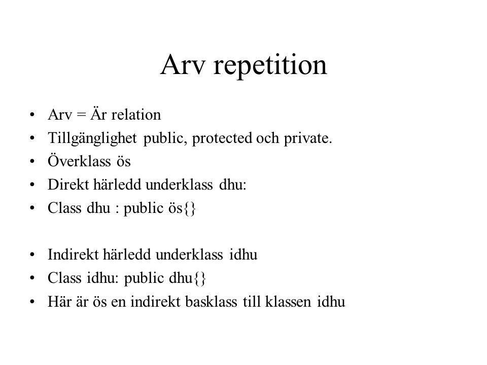 Arv repetition Arv = Är relation Tillgänglighet public, protected och private. Överklass ös Direkt härledd underklass dhu: Class dhu : public ös{} Ind