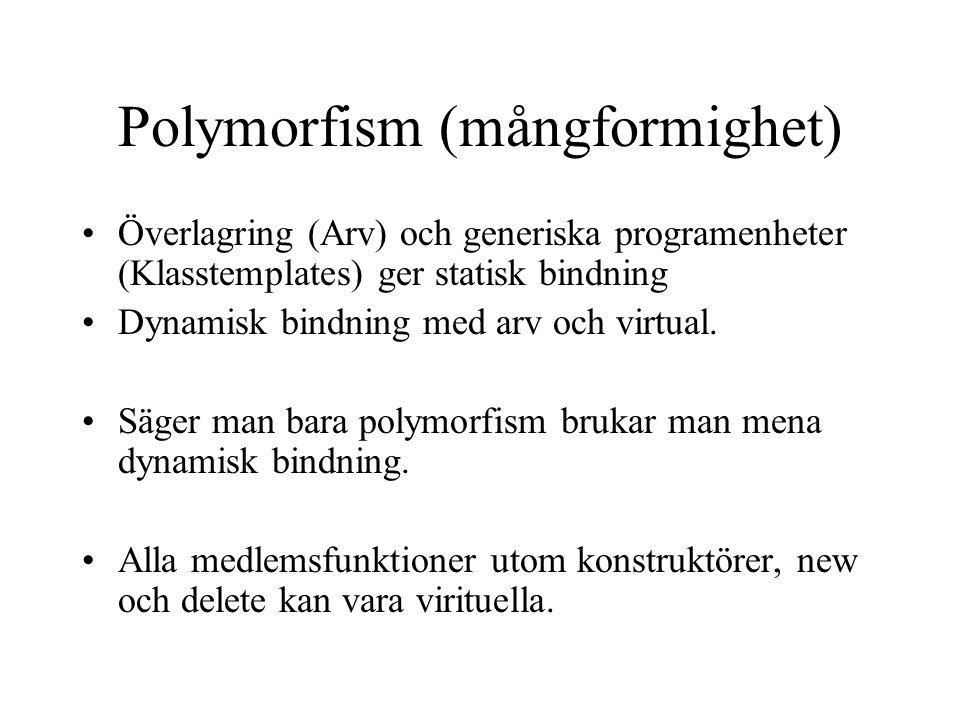 Polymorfism (mångformighet) Överlagring (Arv) och generiska programenheter (Klasstemplates) ger statisk bindning Dynamisk bindning med arv och virtual