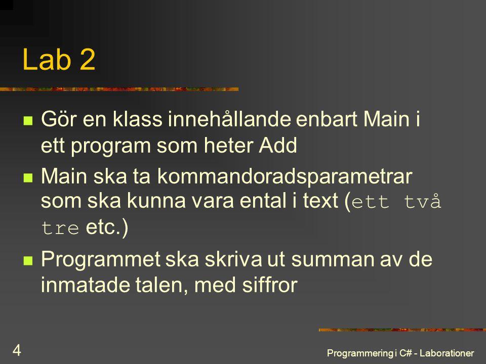 Programmering i C# - Laborationer 4 Lab 2 Gör en klass innehållande enbart Main i ett program som heter Add Main ska ta kommandoradsparametrar som ska