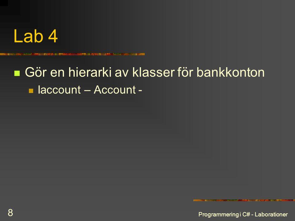 Programmering i C# - Laborationer 8 Lab 4 Gör en hierarki av klasser för bankkonton Iaccount – Account -