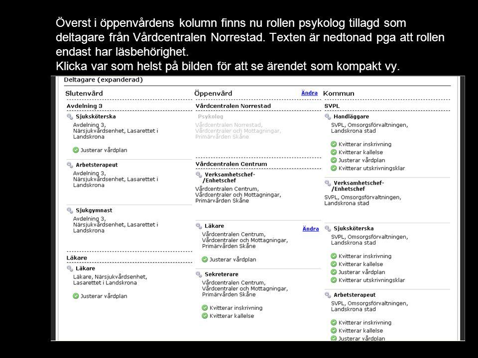 Överst i öppenvårdens kolumn finns nu rollen psykolog tillagd som deltagare från Vårdcentralen Norrestad.