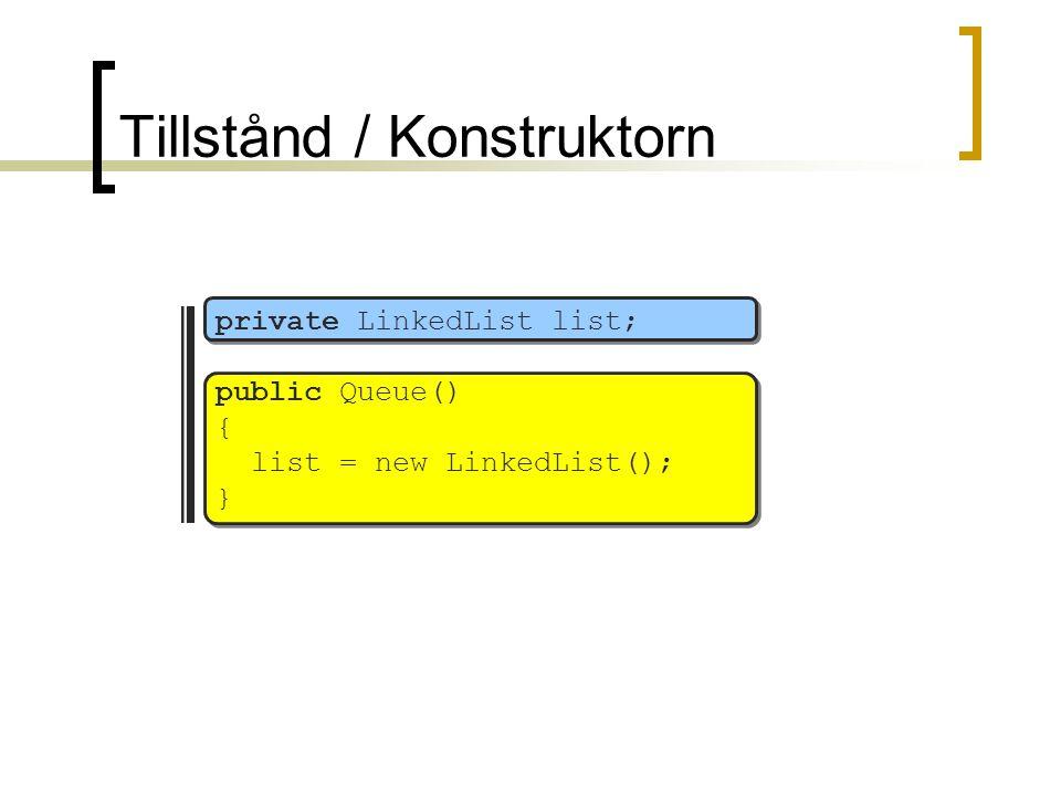 Tillstånd / Konstruktorn private LinkedList list; public Queue() { list = new LinkedList(); }