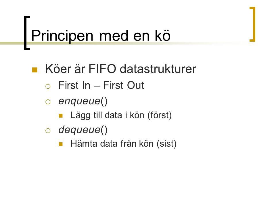 Principen med en kö Köer är FIFO datastrukturer  First In – First Out  enqueue() Lägg till data i kön (först)  dequeue() Hämta data från kön (sist)