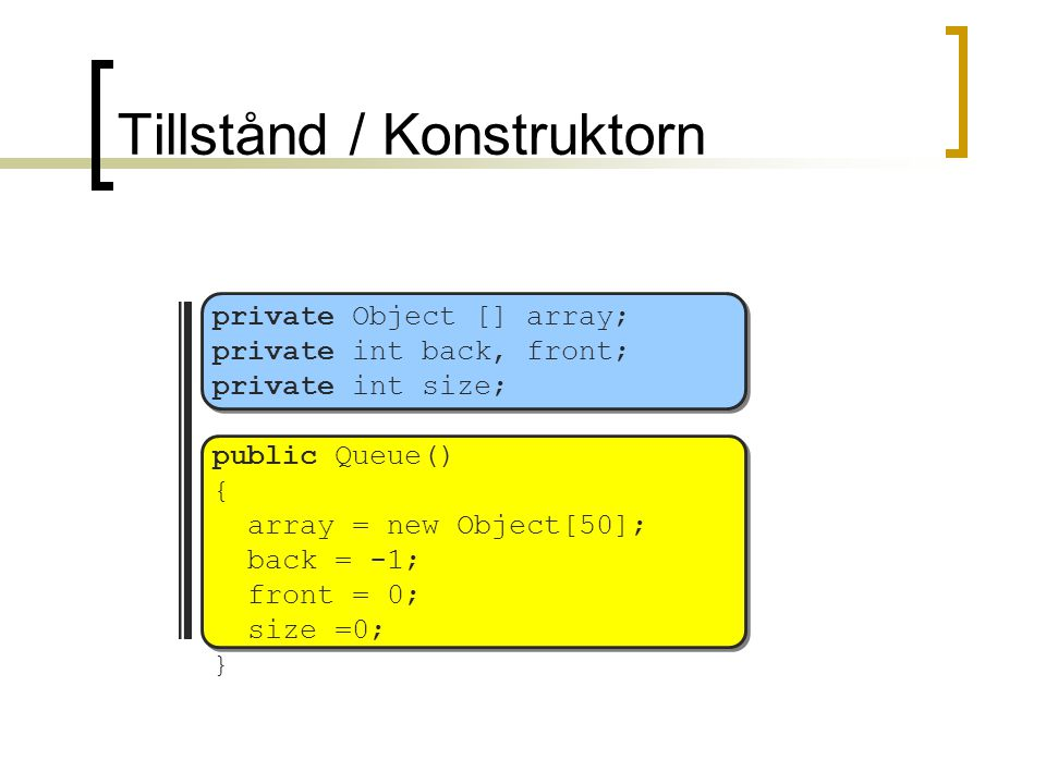 Tillstånd / Konstruktorn private Object [] array; private int back, front; private int size; public Queue() { array = new Object[50]; back = -1; front