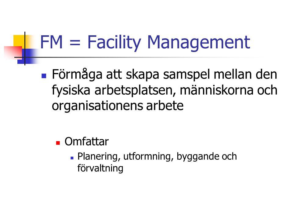 FM = Facility Management Konsten att få fastigheten/lokalen att optimalt stödja kärnverksamheten