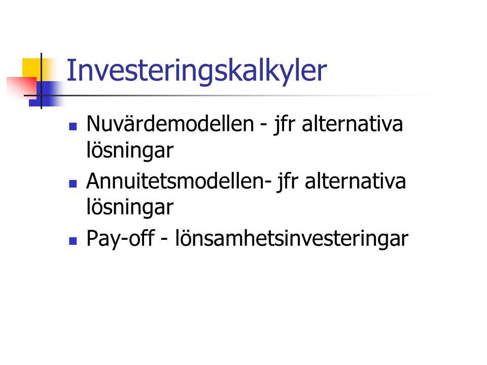 Nuvärdemodellen Alla förväntade in- och utbetalningar omräknas till nuvärde med hjälp av en faktor Om summan av nuvärdet större än 0 är investeringen lönsam