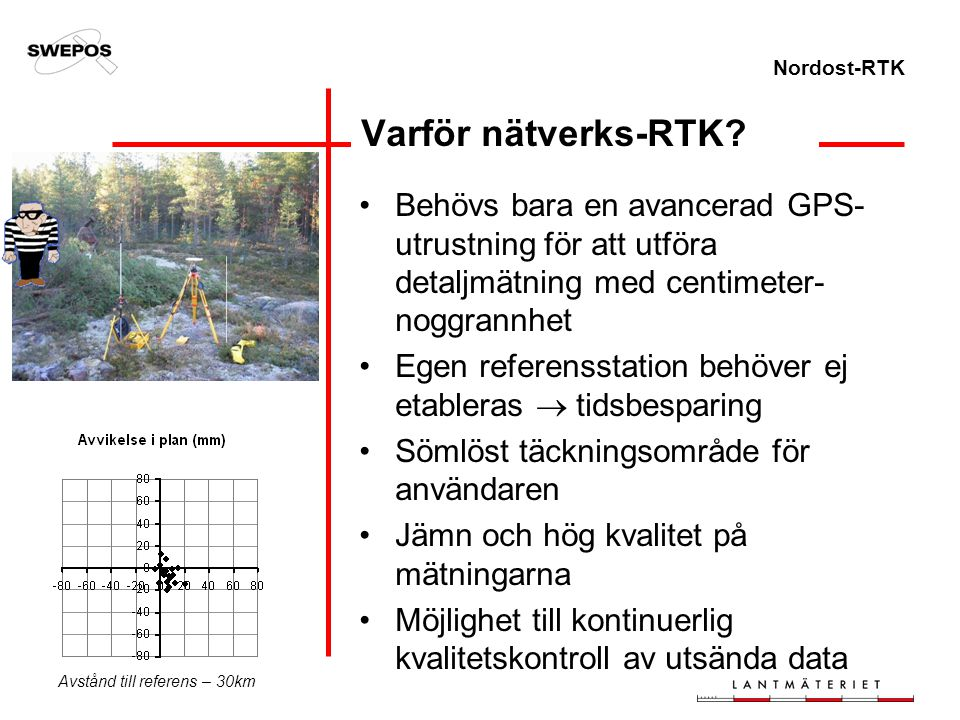 Nordost-RTK Varför nätverks-RTK? Behövs bara en avancerad GPS- utrustning för att utföra detaljmätning med centimeter- noggrannhet Egen referensstatio