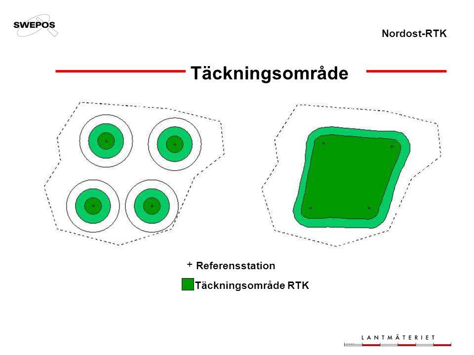 Nordost-RTK Täckningsområde Referensstation Täckningsområde RTK +