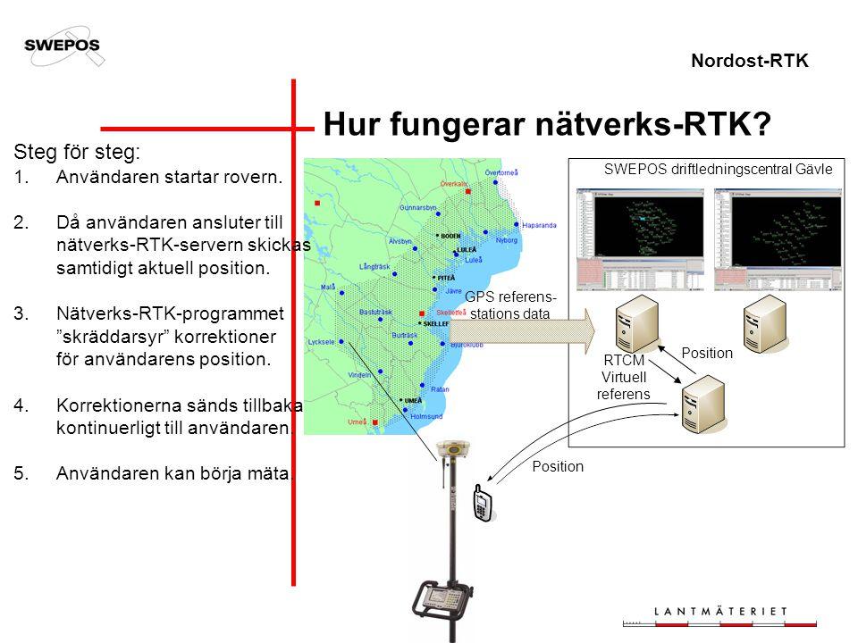 Nordost-RTK SWEPOS driftledningscentral Gävle Position RTCM Virtuell referens GPS referens- stations data Steg för steg: 1.Användaren startar rovern.