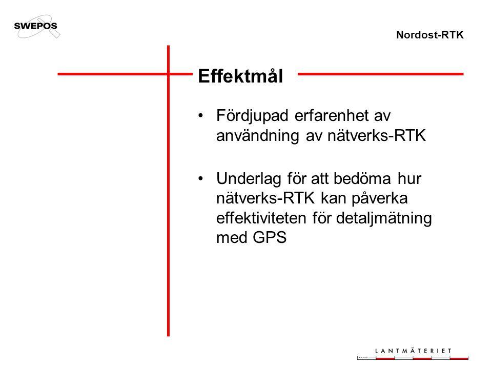 Nordost-RTK Fördjupad erfarenhet av användning av nätverks-RTK Underlag för att bedöma hur nätverks-RTK kan påverka effektiviteten för detaljmätning m