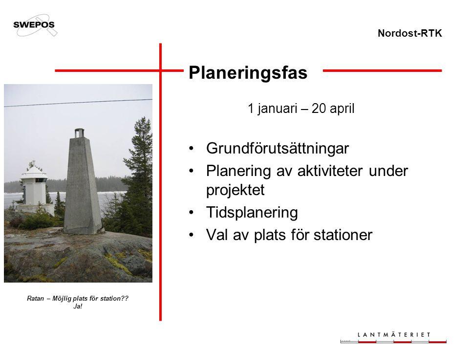 Nordost-RTK Planeringsfas 1 januari – 20 april Grundförutsättningar Planering av aktiviteter under projektet Tidsplanering Val av plats för stationer