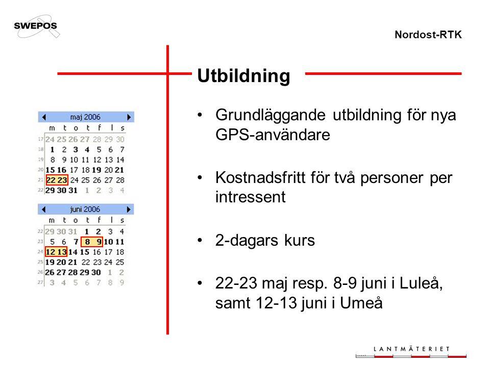 Nordost-RTK Utbildning Grundläggande utbildning för nya GPS-användare Kostnadsfritt för två personer per intressent 2-dagars kurs 22-23 maj resp. 8-9