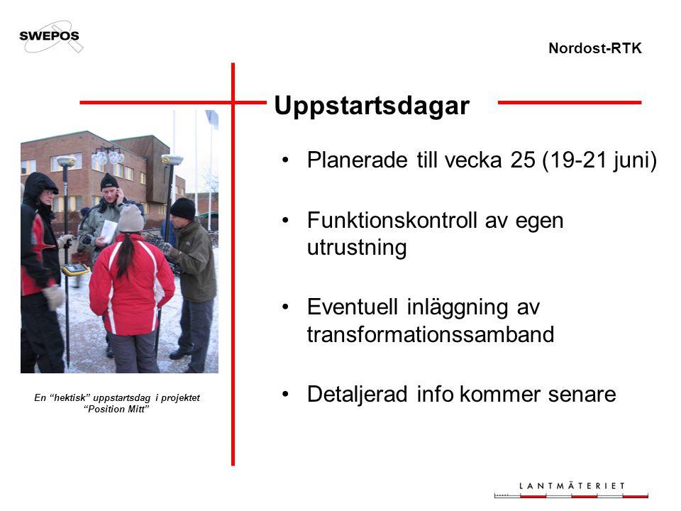 Nordost-RTK Uppstartsdagar Planerade till vecka 25 (19-21 juni) Funktionskontroll av egen utrustning Eventuell inläggning av transformationssamband De
