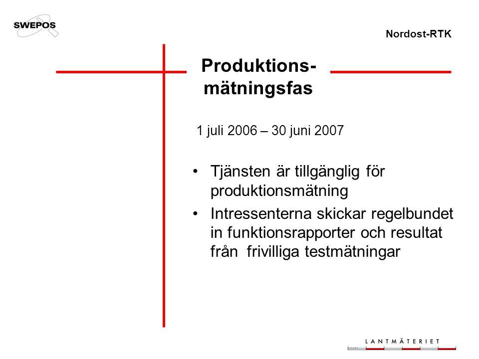 Nordost-RTK Produktions- mätningsfas 1 juli 2006 – 30 juni 2007 Tjänsten är tillgänglig för produktionsmätning Intressenterna skickar regelbundet in f