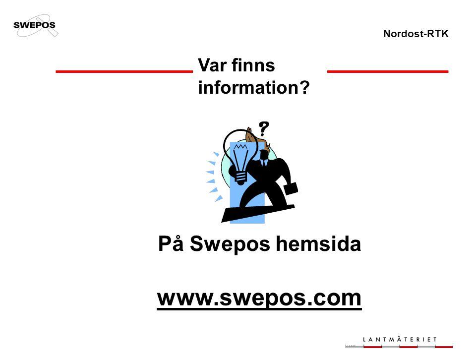 Nordost-RTK Var finns information? På Swepos hemsida www.swepos.com