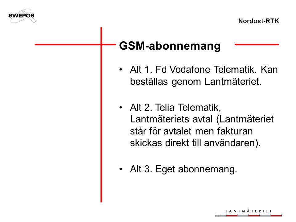 Nordost-RTK GSM-abonnemang Alt 1. Fd Vodafone Telematik. Kan beställas genom Lantmäteriet. Alt 2. Telia Telematik, Lantmäteriets avtal (Lantmäteriet s