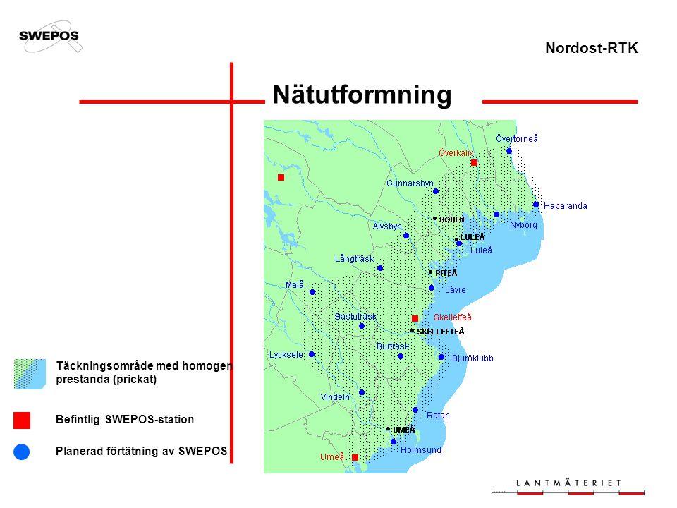 Nordost-RTK Nätutformning Täckningsområde med homogen prestanda (prickat) Befintlig SWEPOS-station Planerad förtätning av SWEPOS