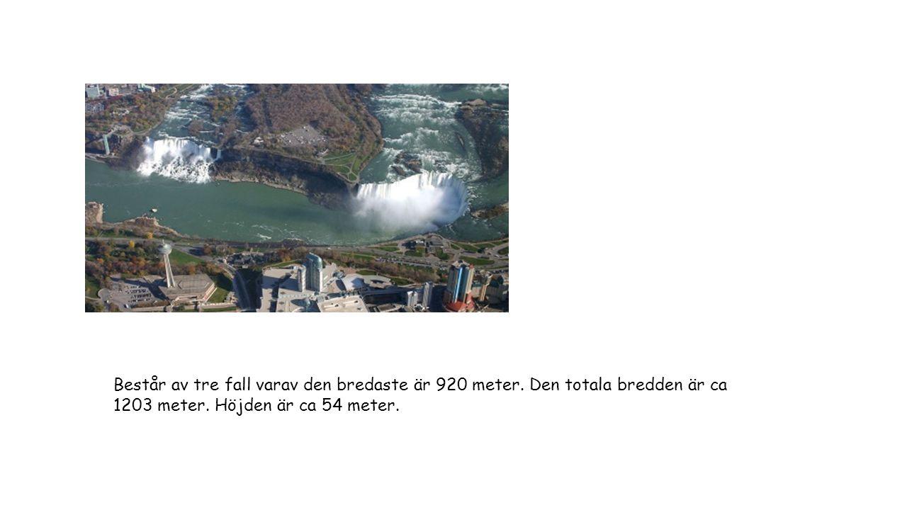 Består av tre fall varav den bredaste är 920 meter. Den totala bredden är ca 1203 meter. Höjden är ca 54 meter.