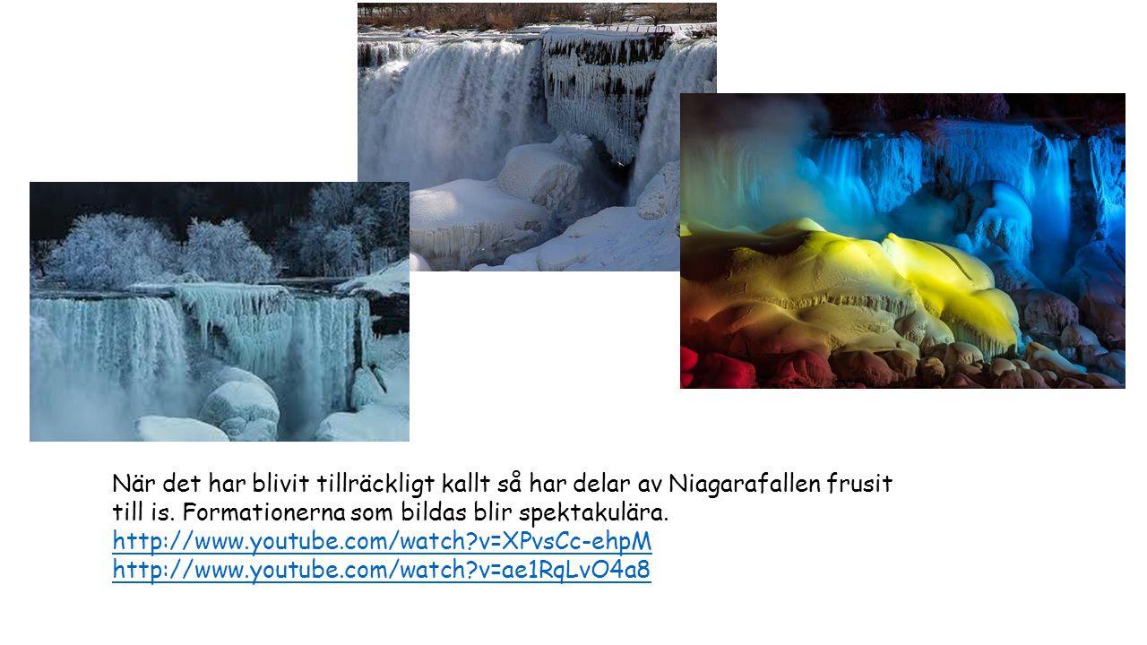 När det har blivit tillräckligt kallt så har delar av Niagarafallen frusit till is. Formationerna som bildas blir spektakulära. http://www.youtube.com