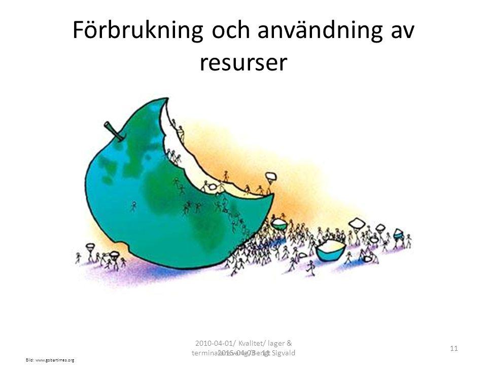 2010-04-01/ Kvalitet/ lager & terminalansvarig/Bengt Sigvald 11 2015-04-03 : 11 Förbrukning och användning av resurser Bild: www.gobartimes.org