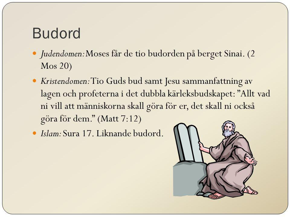 Budord Judendomen: Moses får de tio budorden på berget Sinai.