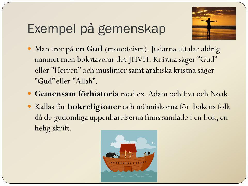 Exempel på gemenskap Man tror på en Gud (monoteism).