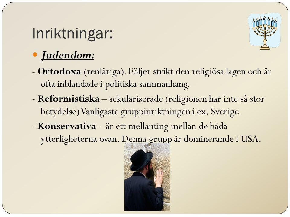 Inriktningar: Judendom: - Ortodoxa (renläriga).