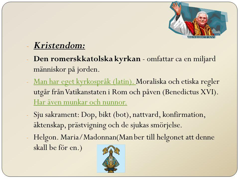 Kristendom: - De protestantiska kyrkorna - Svenska kyrkan är protestantisk/luthersk.
