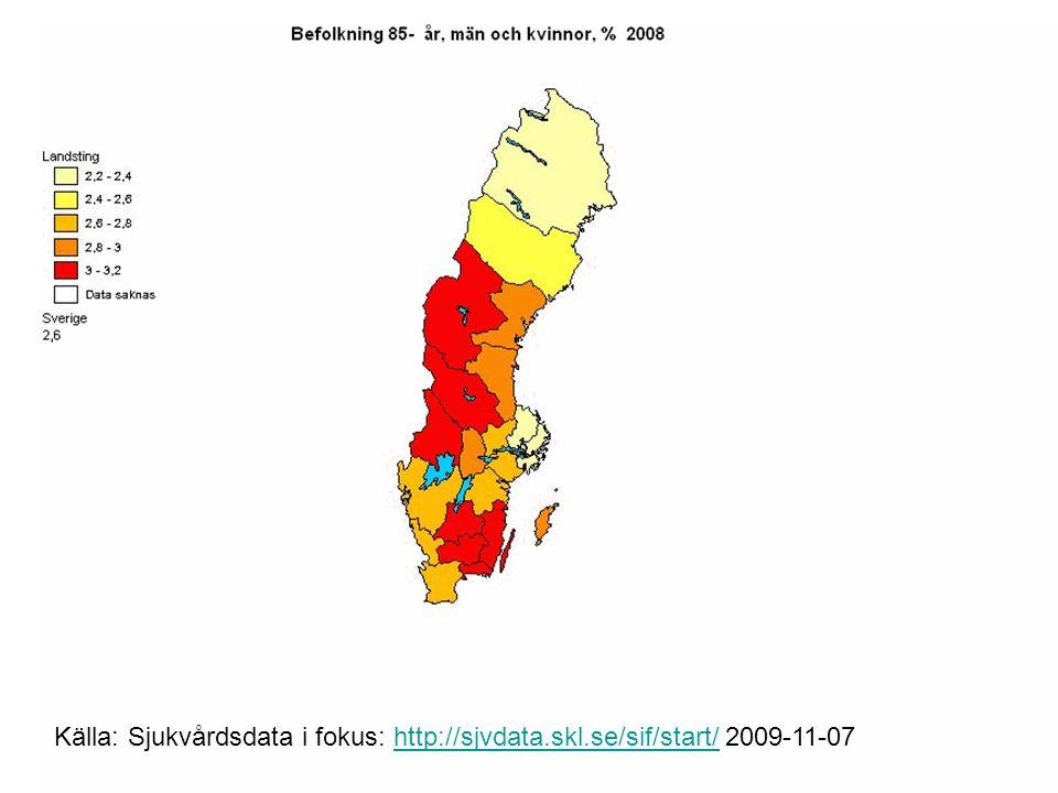 Källa: Sjukvårdsdata i fokus: http://sjvdata.skl.se/sif/start/ 2009-11-07http://sjvdata.skl.se/sif/start/