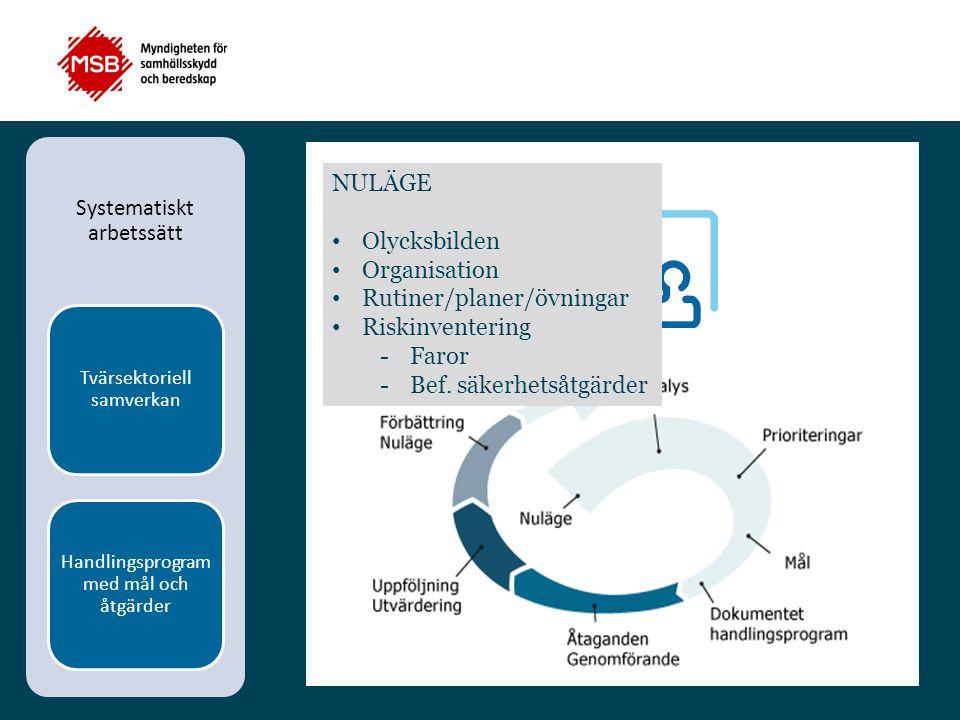 Systematiskt arbetssätt Tvärsektoriell samverkan Handlingsprogram med mål och åtgärder NULÄGE Olycksbilden Organisation Rutiner/planer/övningar Riskin