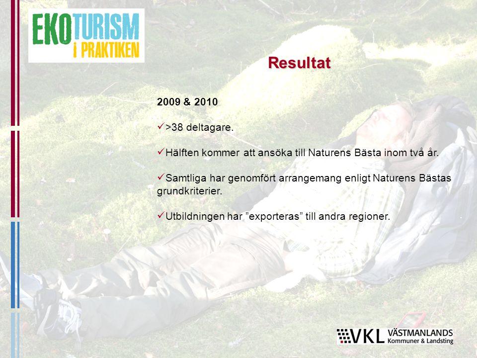2009 & 2010 >38 deltagare. Hälften kommer att ansöka till Naturens Bästa inom två år.