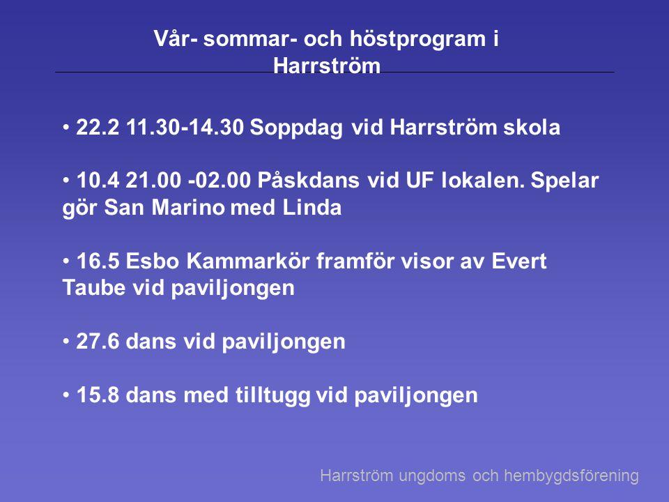 Vår- sommar- och höstprogram i Harrström 22.2 11.30-14.30 Soppdag vid Harrström skola 10.4 21.00 -02.00 Påskdans vid UF lokalen. Spelar gör San Marino